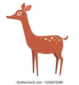Cute deer with elegant design, little baby brown deer, bambi deer, white background