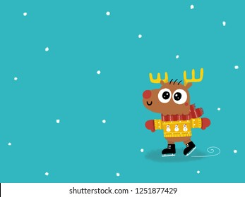 Cute deer with scarf and sweater ice skating. Children book character illustrated on a blue winter snowing background with free space for your decoration. Merry Christmas and Happy New Year.