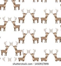 cute deer seamless pattern. winter holidays
