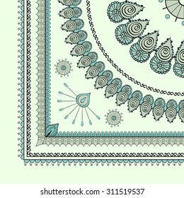 Cute design suitable for repainting suitable for tablecloths, bandanas, blankets. Can be used in parts. Mehendi tracery hindi drawing, carpet corner.