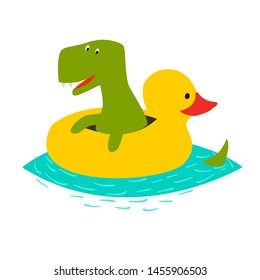 Cute dinasaur swiming with yellow inflatable duck illustration. Green t-rex cartoon doodle print isolated on white background