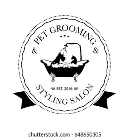 Cute dog and cat taking shower in bath. Logo for pet hair salon, pet styling and grooming shop, store for dogs and cats