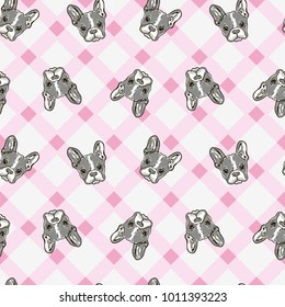 Cute Dog Face Cartoon Seamless Repeat Pattern - Boston Terrier, French Bulldog - Turquoise Green Background with Grey Dogs Color Palette on pink plaid background