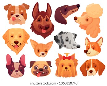 Cute dog face. Puppy pets, dogs animals breed and puppies heads. Funny retriever corgi poodle terrier and dalmatian. Domestic dog pedigree cartoon  illustration isolated icons set