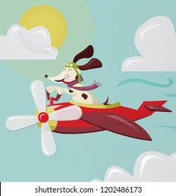Cute Dog Flying an Airplane Illustration
