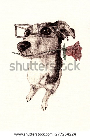 Cute Dog Illustration Love Sick Puppy Stock Illustration 277254224