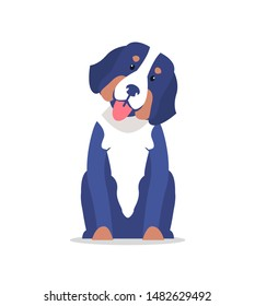 Cute dog with long ears and white collar raster illustration isolated. adorable home pet best animal friend canine showing tongue friendly pedigree