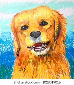 Cute dog portrait illustration