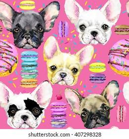 cute dog seamless pattern. French Bulldog. Puppy watercolor illustration. Fashion print. Sweet dessert background.