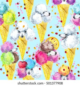 cute dog seamless pattern. watercolor sweet background.