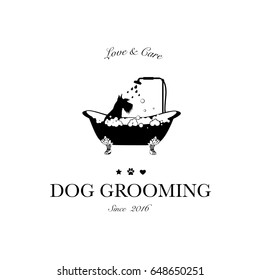 Cute dog taking shower in bath. Logo for dog hair salon, styling and grooming shop, store for pets