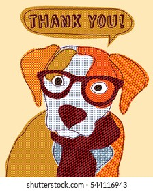 Cute dog thank you card patchwork. Color  illustration.