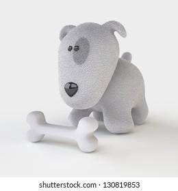 Cute Dog/ The Three-dimensional Dog with a Bone