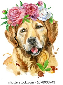 Cute Dog. Dog T-shirt graphics. watercolor golden retriever illustration in a wreath of peonies