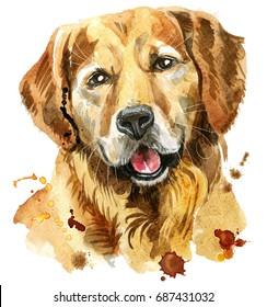 Cute Dog. Dog T-shirt graphics. watercolor golden retriever illustration