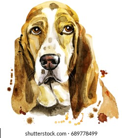 Cute Dog. Dog T-shirt graphics. watercolor basset hound