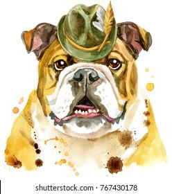 Cute Dog. Dog T-shirt graphics. watercolor Dog illustration