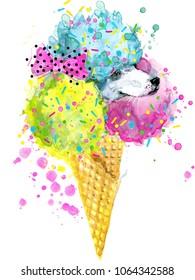 cute dog watercolor illustration