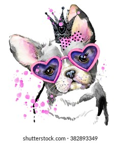 Cute Dog watercolor illustration for fashion print, poster for textiles, fashion design T-shirt graphics. French Bulldog
