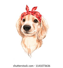 Cute dog wearing red bandana. Watercolor illustration.