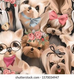 Cute dogs, puppy, pets seamless pattern