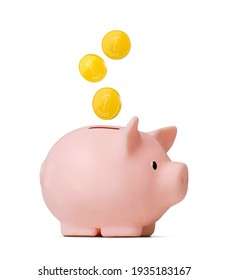 Cute dollar piggy bank with coin isolated on white background