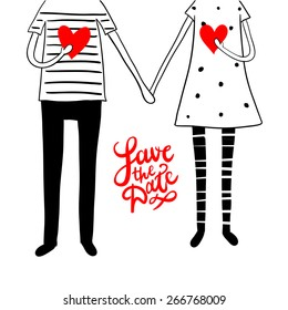 """Cute doodle couple with hearts and hand lettering """"save the date"""""""