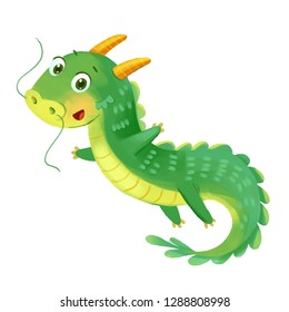 Cute Dragon. Symbol of the Chinese New Year. Funny cartoon character. Isolated on white background. Hand-drawing Illustration