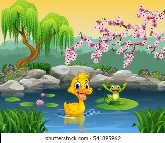 Cute duck with happy frog