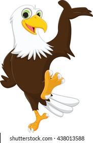 cute eagle cartoon waving hand