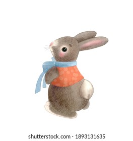 cute easter bunny with blue bow and orange vest, watercolor illustration on white background