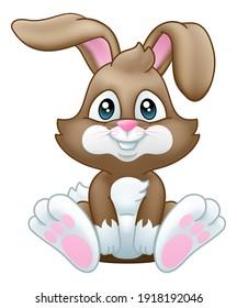 Cute Easter bunny rabbit cartoon character