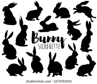 Cute Easter Bunny Silhouette Elements Set