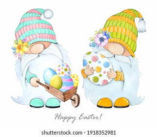 Cute Easter gnomes with colorful eggs on a white background. Watercolor illustration.