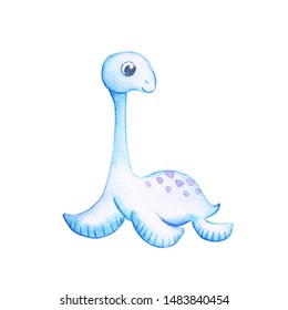 Cute Elasmosaurus dinosaur with big eyes on white background. Friendly Dino Watercolor illustration. Elasmosaurus sticker isolated. Cartoon character of water animal. Extinct species of jurassic era