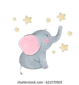 Cute elephant baby  illustration