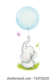 Cute elephant with  blue balloon