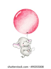 Cute elephant flying on red balloon