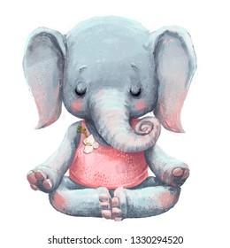 cute elephant in lotus pose