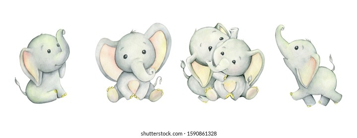 Cute elephants, tropical cute animals. Watercolor set. Set, watercolor animals, on isolated background. For children's cards and invitations.