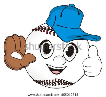 678c4133b81 cute face of baseball in blue cap show gesture class and show a brown glove