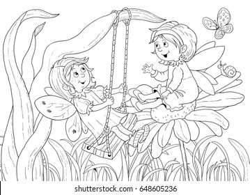 Cute fairies chatting among the flowers. Fairy tale. Coloring book. Coloring page. Illustration for children. Funny cartoon characters