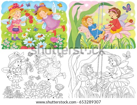 Cute Fairies Flowers Butterflies Poster Fairy Tale Stock ...