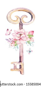Cute Fairy character watercolor illustration on white background. Magic fantasy cartoon pink design