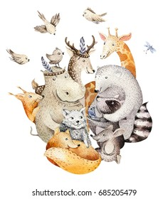 Cute family baby fox, deer animal nursery cat, giraffe, squirrel, and bear isolated illustration. Watercolor boho raccon drawing, watercolour, hippopotamus image Perfect for nursery posters, patterns