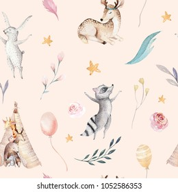 Cute family baby raccon, deer and bunny. animal nursery giraffe, and bear isolated illustration. Watercolor boho raccon drawing nursery seamless pattern. Kids background, nursery print design