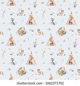 Cute family baby raccon, deer and bunny. animal nursery giraffe, and bear isolated illustration. Watercolor boho raccon drawing nursery seamless pattern. Kids background, nursery print design