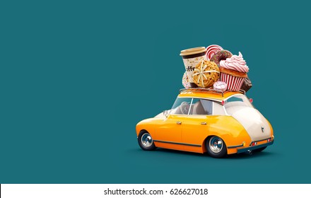 Cute fantastic retro car with sweets and coffee on top. Pastries concept 3d illustration.