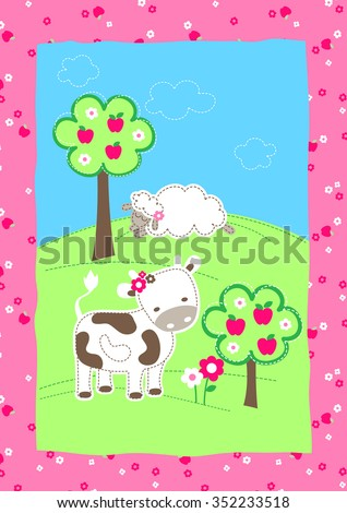 Cute Farm Animals On Hill Embroidery Stock Illustration 352233518
