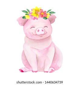 Cute farm pig with wreath of wild flowers and leaves, watercolor hand draw illustration with animals isolated on white background